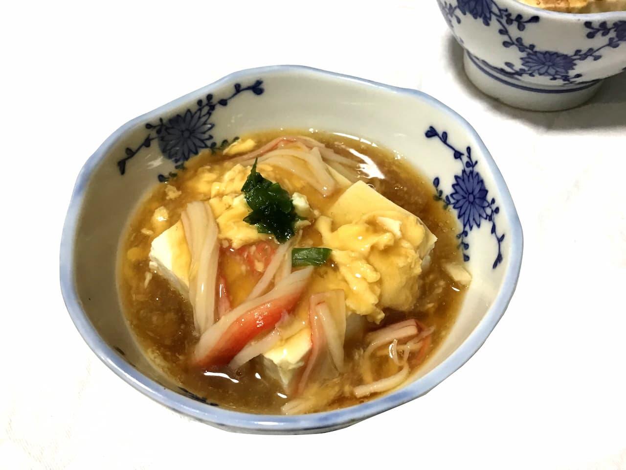 カニカマと卵で作る豆腐あんかけ